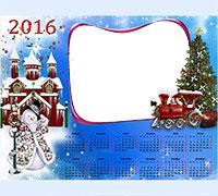 Рамка Детский календарь 2016. С паравозиком