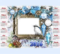 Фоторамка Детский календарь 2016. Со снеговиком