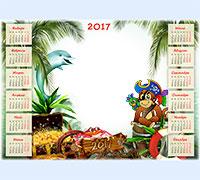 Рамка для фото Календарь детский 2017. Обезьянка-пират