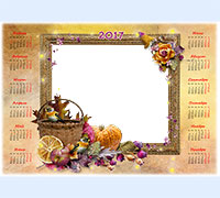 Детская рамочка Календарь 2017. Осенняя корзина